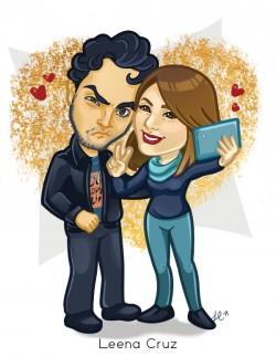 Funny_Couple_Selfie_Cartoon_Leena_Cruz